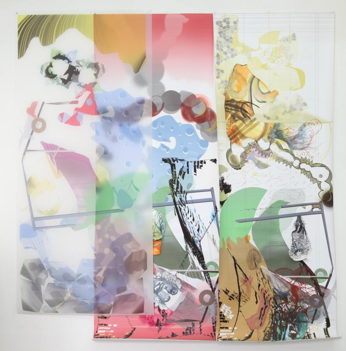 Metamorphoses, Water color and print on paper and parchment paper